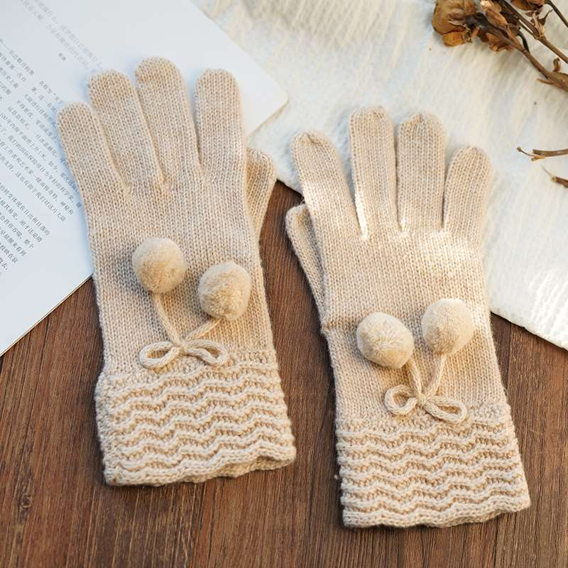 Wool gloves womens winter sweet pure color five finger gloves cute wool ball Japan and South Korea fashion versatile wool knitted gloves