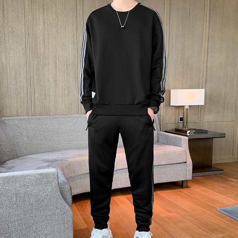 三条杠卫衣男士套装韩版潮流秋季新款休闲宽松青年百搭运动两件套