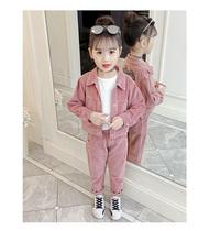 女童薄款灯芯绒套装2019新款韩版春秋季小女孩洋气时尚休闲两件套