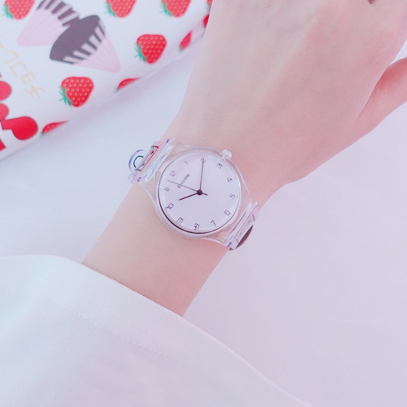 Watch girl Middle School Korean version simple lovely girl Japanese soft girl transparent jelly silicone candy color college style