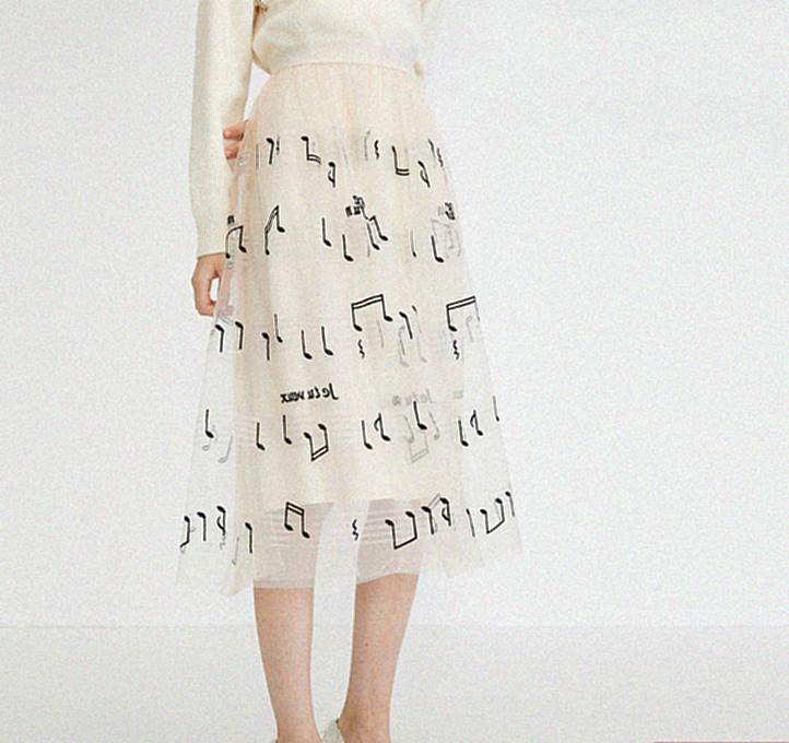 veromoda2020春夏新款复古街头感网纱音符刺绣半身裙浪漫仙女裙