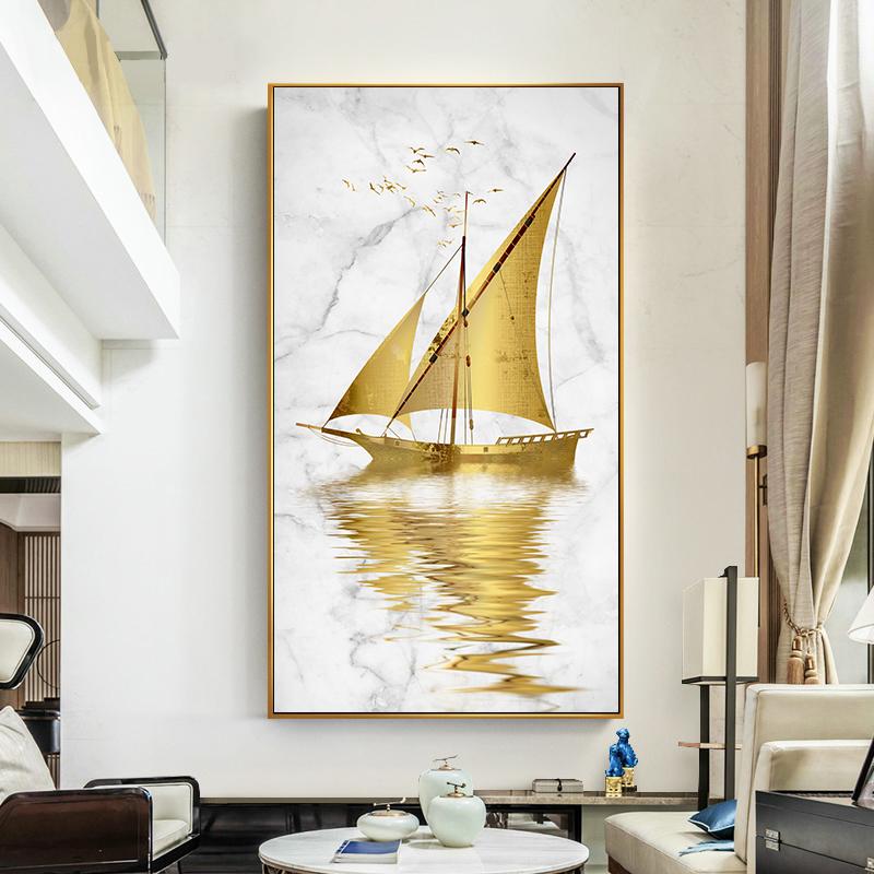 入户玄关装饰画现代简约走廊竖版沙发背景画别墅壁画卧室客厅挂画