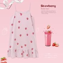 夏季纯棉无袖睡裙女吊带性感睡衣孕妇加大码可爱草莓胖MM200斤4XL
