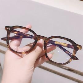 复古玳瑁色板材眼镜架男配度数 琥珀色豹纹眼镜框女圆脸原宿风ins