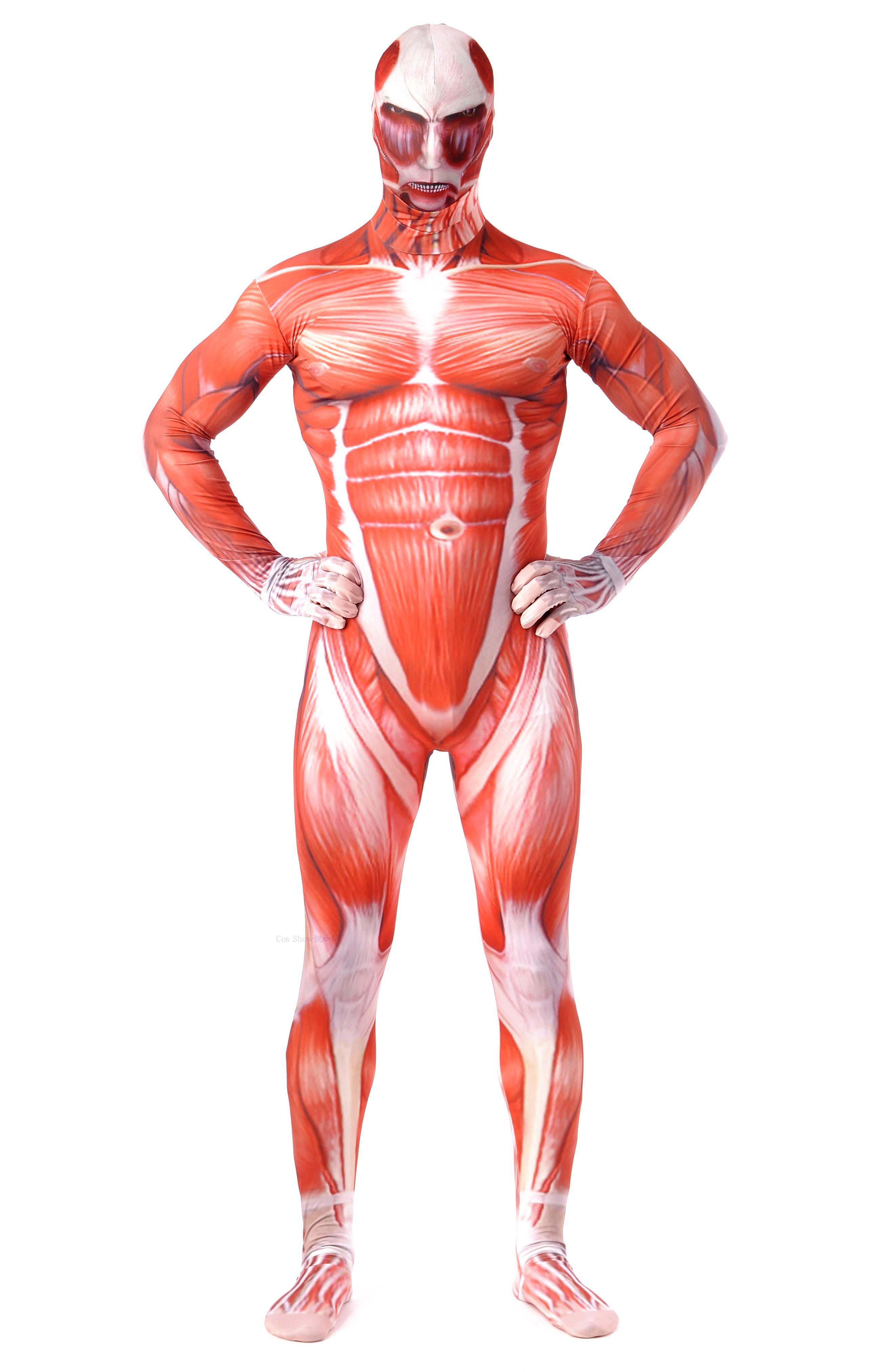 现货 进击的巨人cos连体紧身衣、50M级 肌肉装 动漫展舞台表演。