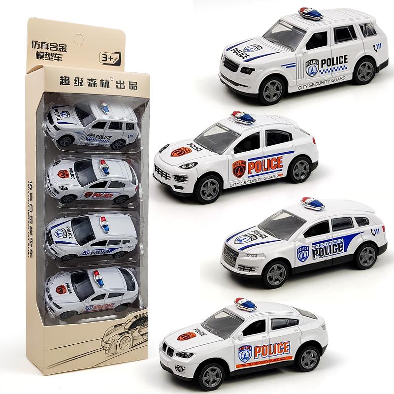 Children's toy car alloy car model SUV police car anti-fall back car set