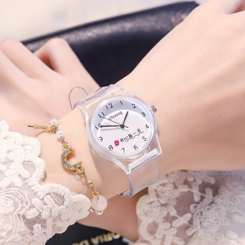 Transparent silicone girls watch Girls primary school students waterproof and fall proof jelly Japanese girls lovely fairy