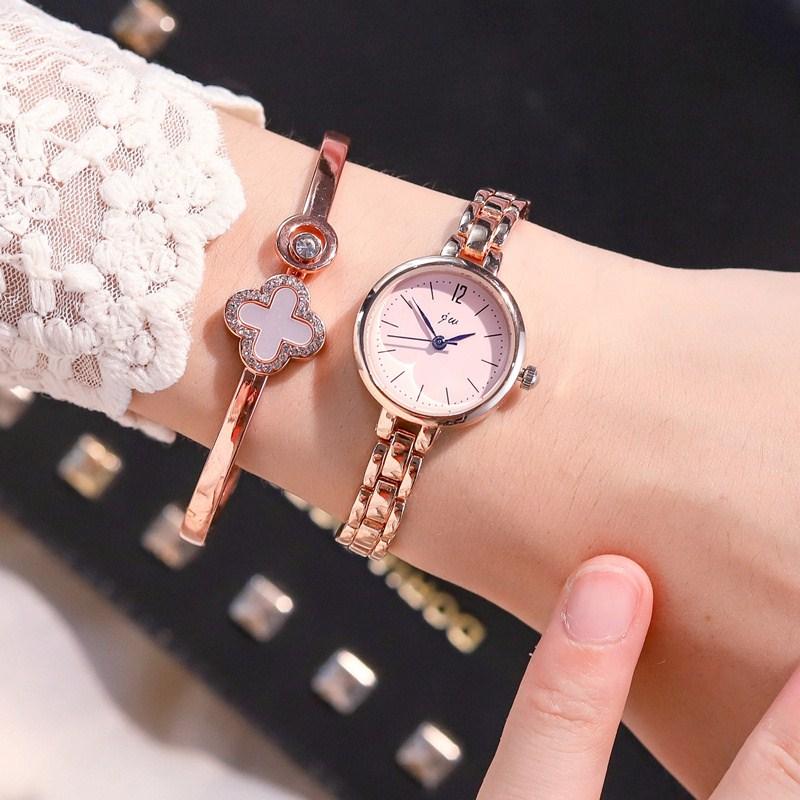 Girl Bracelet Watch girl cherry blossom pink girl Korean version simple temperament college style small exquisite send Bracelet