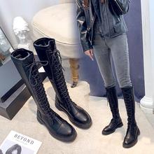 鞋带靴子 女 系长筒马靴女长筒靴内增高小个子女靴2019年新款百搭