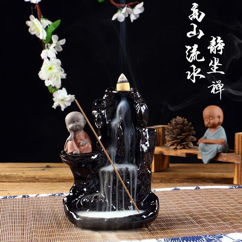 倒流香炉陶瓷香炉倒流高山流水创意居家摆件香道小和尚香薰塔香炉