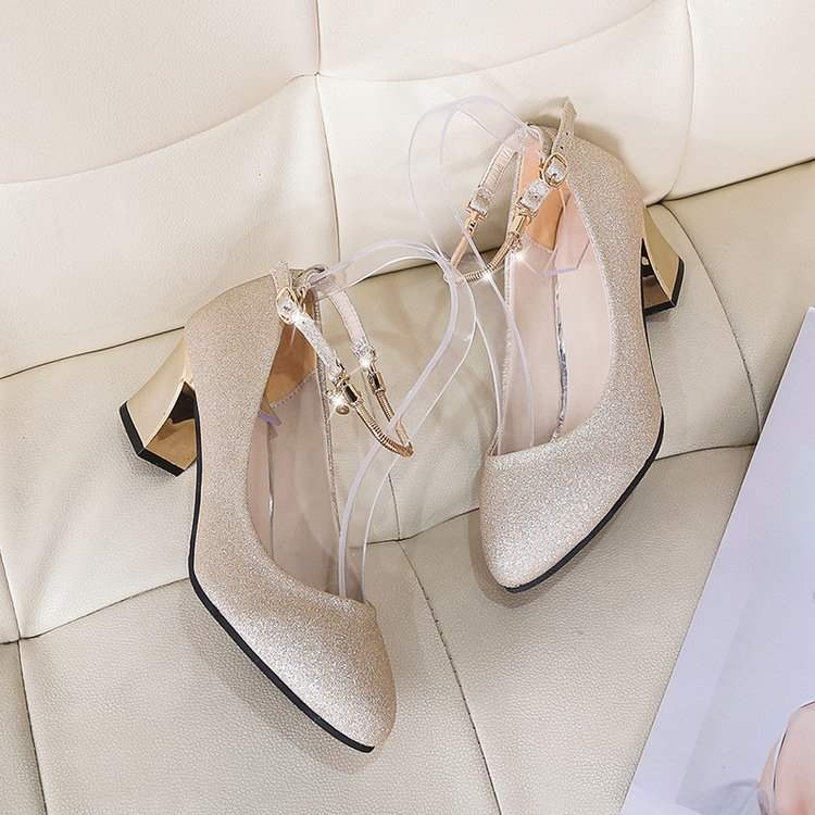 High heeled shoes womens thick heeled 2019 new summer versatile round head single shoes middle heel summer dress gold Bridesmaid shoes