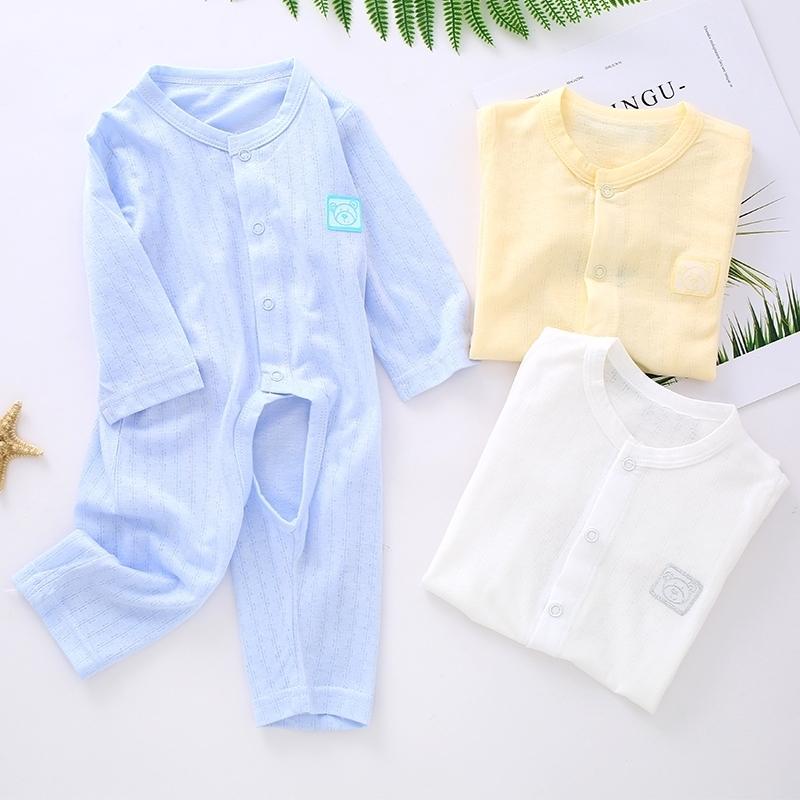 婴儿连体衣夏季超薄款长袖3个月5竹纤维宝宝哈衣新生儿空调服开裆,可领取3元天猫优惠券