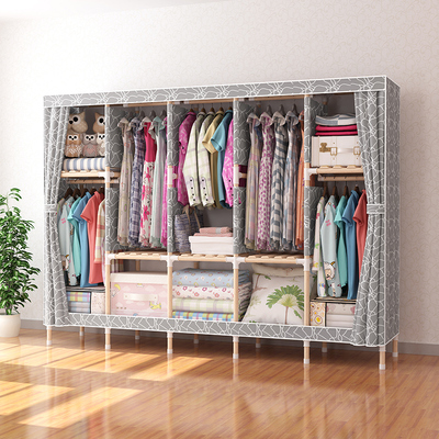 Wardrobe Simple Cloth Wardrobe Solid Wood Reinforced Bold Single Household Economical Assembly Storage Cloth Hanging Wardrobe