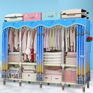 钢管布衣柜简易衣柜加粗加固加厚棉布简约现代经济型三人家庭衣柜