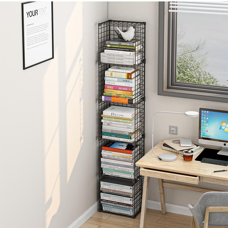 简易书架落地省空间组合书桌学生铁艺收纳小型矮多层窄缝小置物架