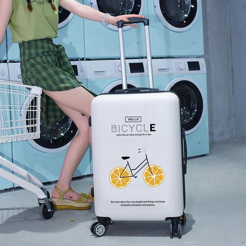 Korean version of Wanxiang wheel junior high school students cartoon storage students suitcases live in school lovely Trolley Case women small and light 20 inch