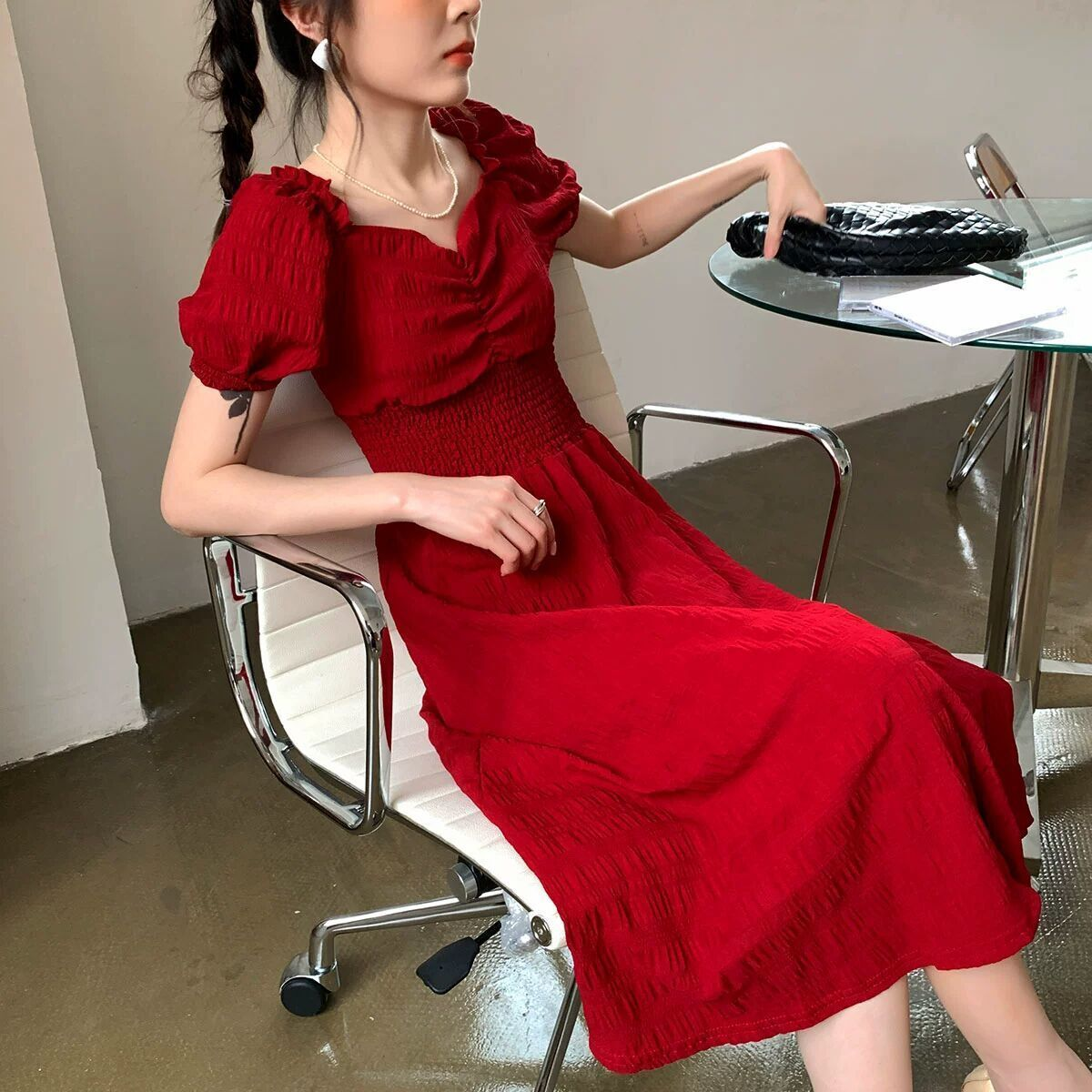 2020 summer new retro Platycodon French red square collar waist show thin dress temperament long skirt childrens wear