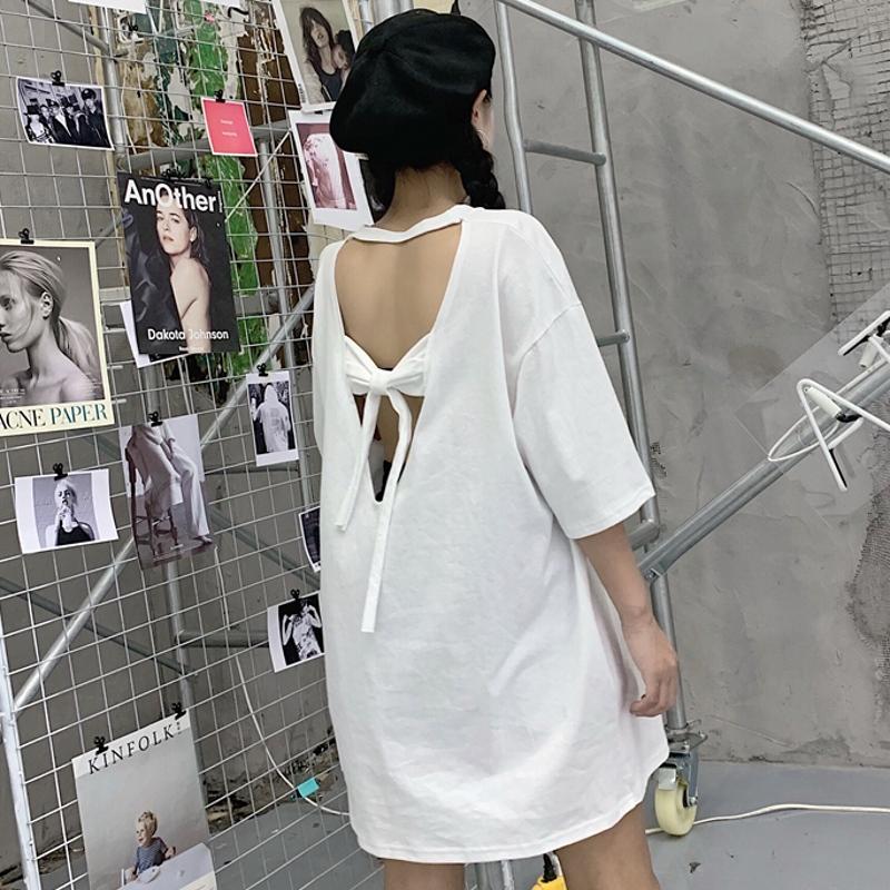 迪乐町性感漏背蝴蝶结中长款白色短袖T恤女装2019新款宽松上衣夏
