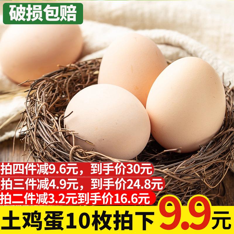 汇果洲正宗农家土鸡蛋10枚草鸡蛋田园五谷散养鸡蛋新鲜土鸡野鸡蛋
