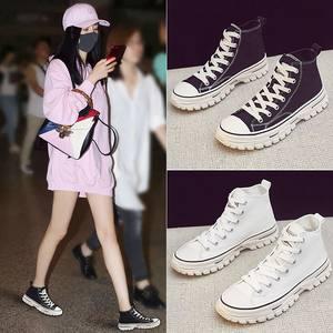 女2019新品黑色高帮帆布鞋韩版女鞋