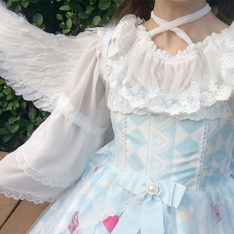 2020 new spring soft girl Japanese Lolita Lolita top with off the shoulder chiffon base top