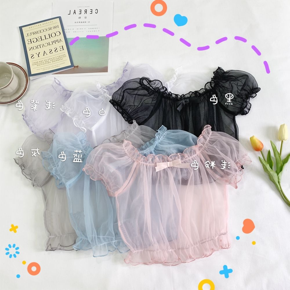 Super fairy Japanese soft girl dress Lolita lining lovely Lolita with Bubble Sleeve Chiffon Top for women Xia