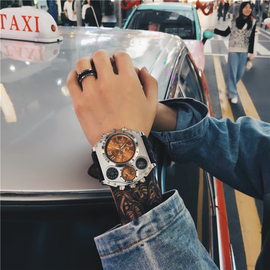 欧美风超大表盘石英表霸气手表时尚潮流个性街头社会青年大气腕表图片