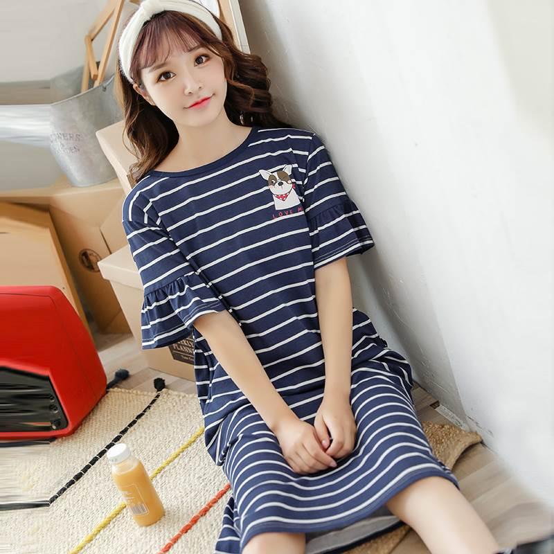 女士纯棉短袖睡裙宽松中长款夏裙(用1元券)