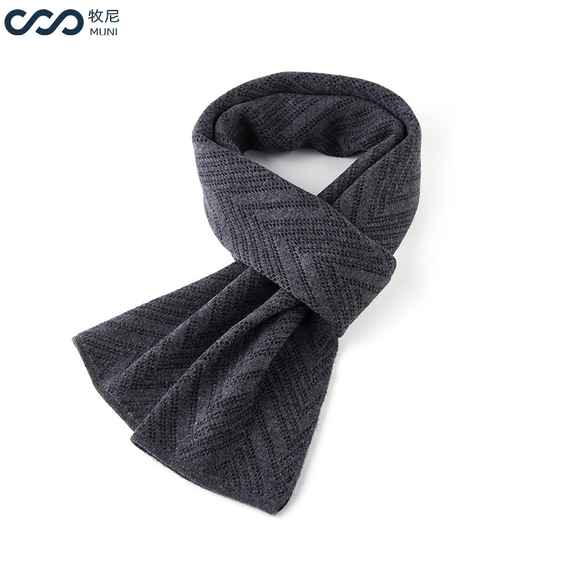 Muni pure wool scarf for mens winter Korean version warm business hollow pattern knitted top-grade Bib gift box