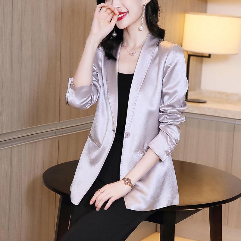 三醋酸西服外套修身2020秋季新款长袖缎面上衣女士小西装高端气质