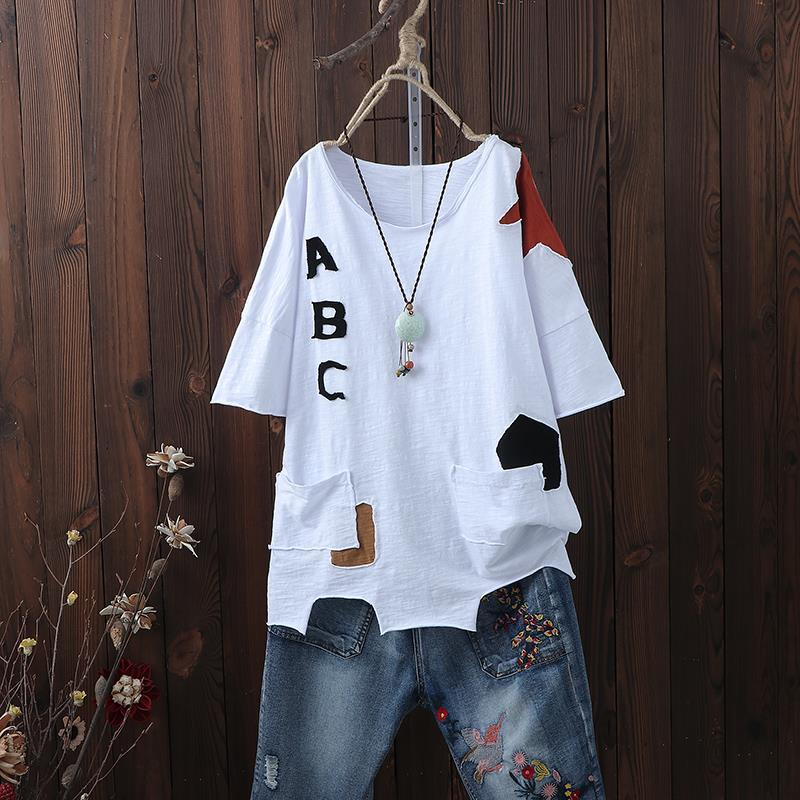 Summer new style art pasted Short Sleeve T-Shirt Large womens loose Pullover irregular top T-shirt