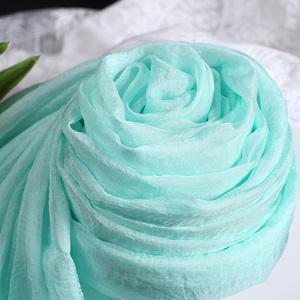 正品韩国丝丝巾品牌长款百搭围巾女款淡雅春秋夏季时尚披肩淡绿色