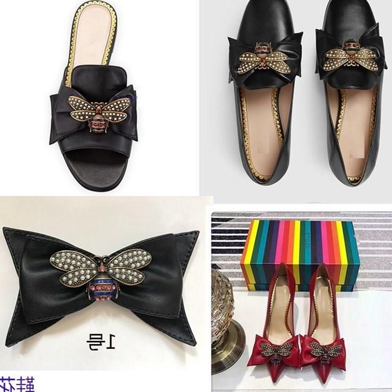 鞋子上的粘花装饰新款可拆卸一对配件女皮蝴蝶结单鞋配饰