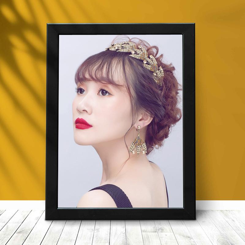 新娘跟妆宣传画海报化妆发型盘头图片彩妆造型广告中式工作室挂图