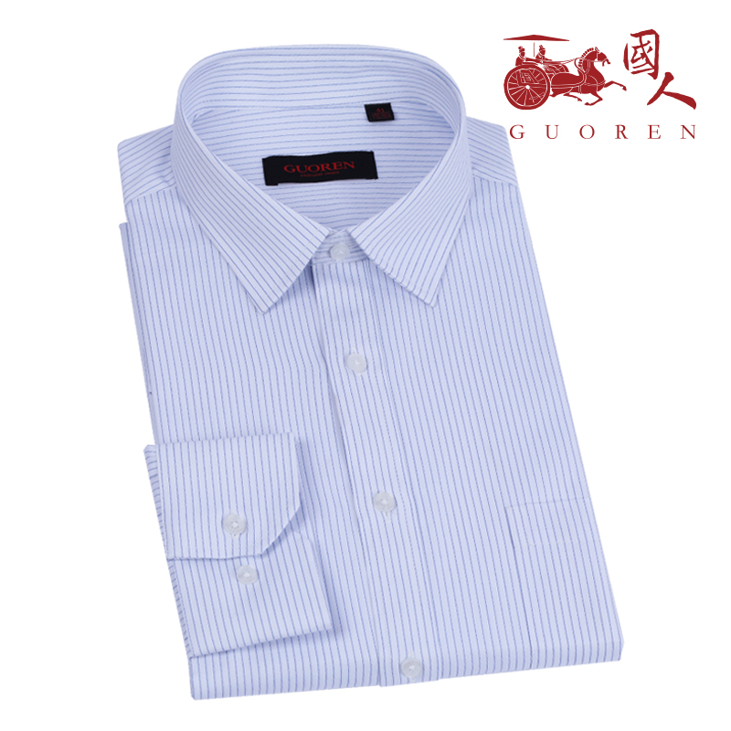 Chinese striped shirt mens long sleeve slim business dress casual trend youth mens professional iron free shirt