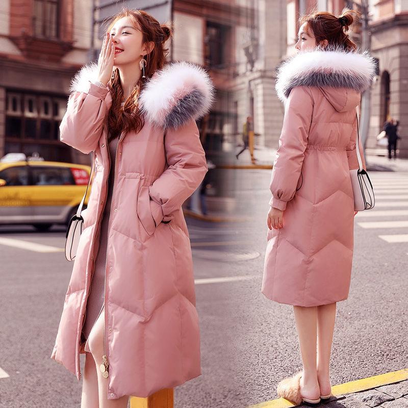 48羽绒棉服女中长款2019冬装新款韩版时尚大毛领过膝宽松棉衣外套