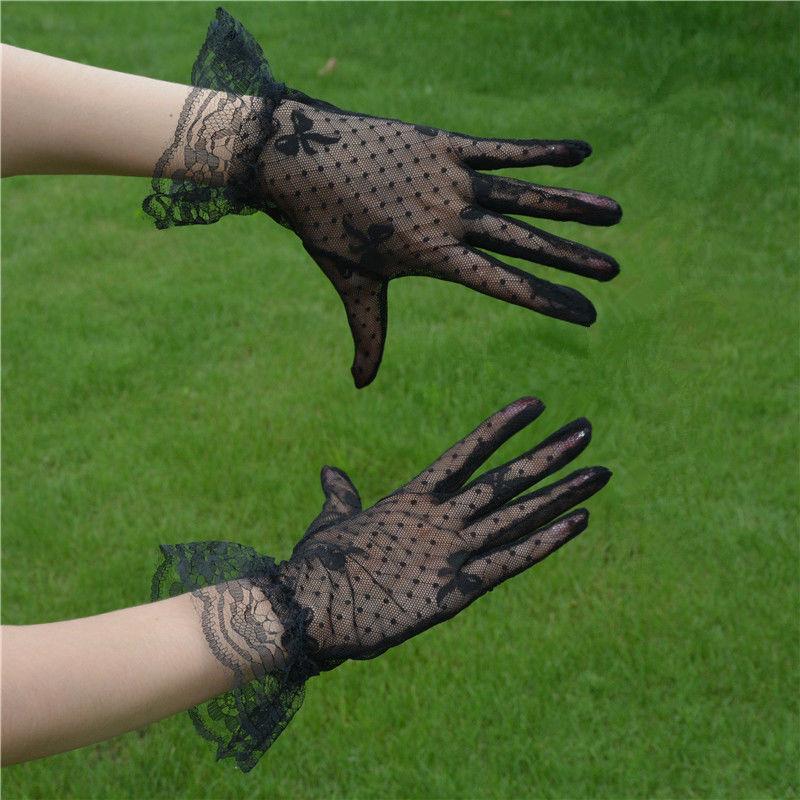 Black Lace Gloves womens thin retro celebrities sexy hollow out gauze night Shanghai cheongsam dance performance