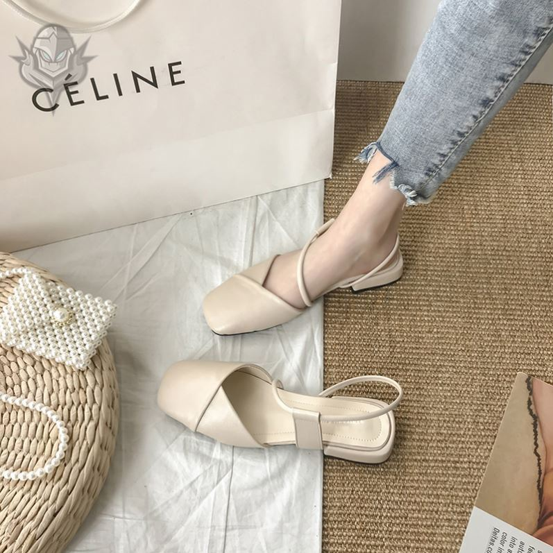 Sandals womens shoes 2021 new fashion Baotou middle heel summer new French girl high heels