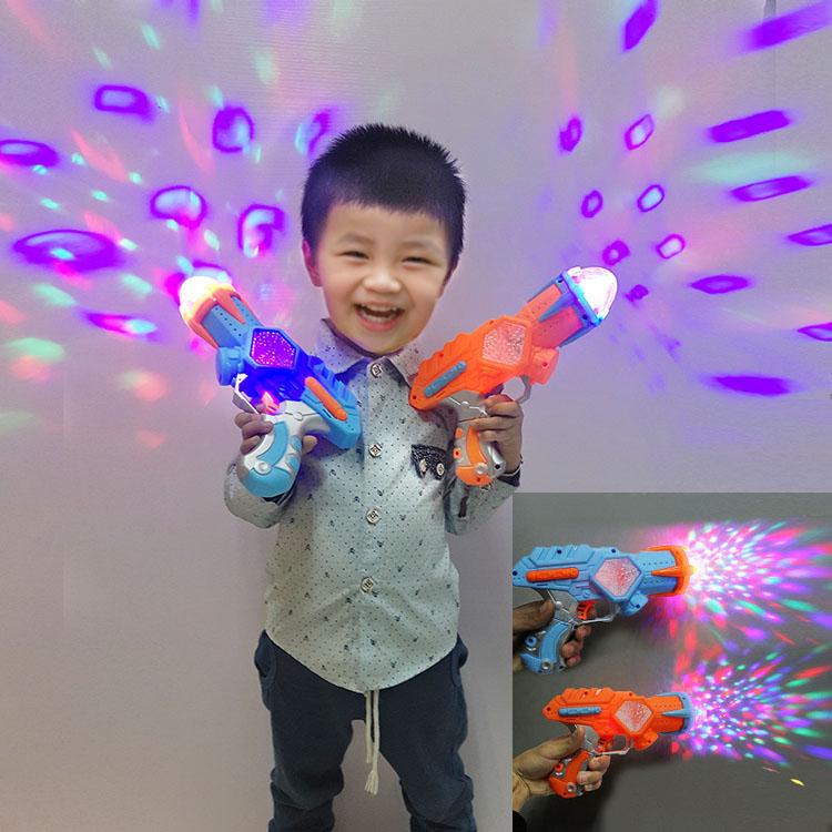 彩色发光投影儿童电动玩具枪手枪声光带音乐激光枪3-6岁男孩宝宝