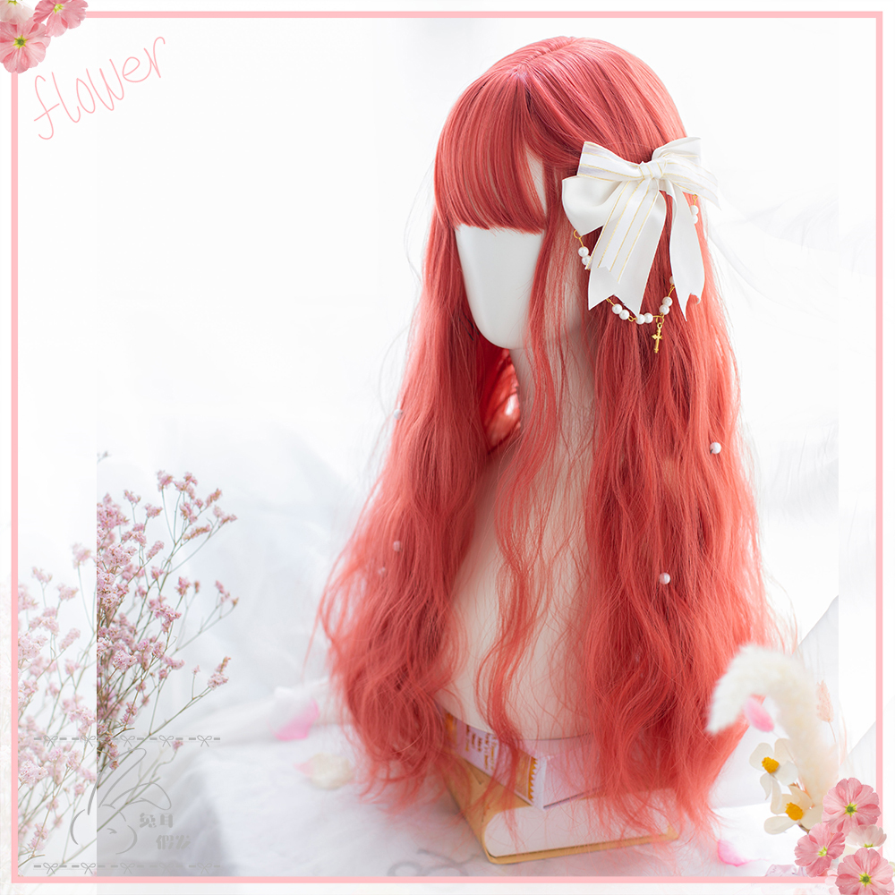 Rabbits ear red berry fruit medium long curl wig bubble noodles lovely Lolita matte high temperature silk European and American Japanese net red