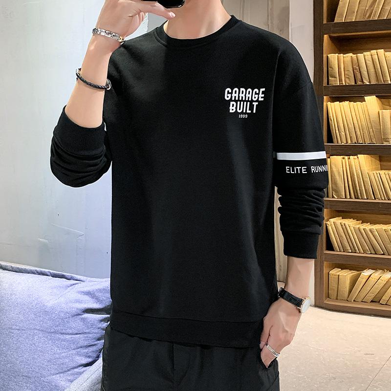 2020春秋季の新型の青少年の男性の丸首の護衛の服の韓国版のファッションの潮流の上で服の湿っている札の男装