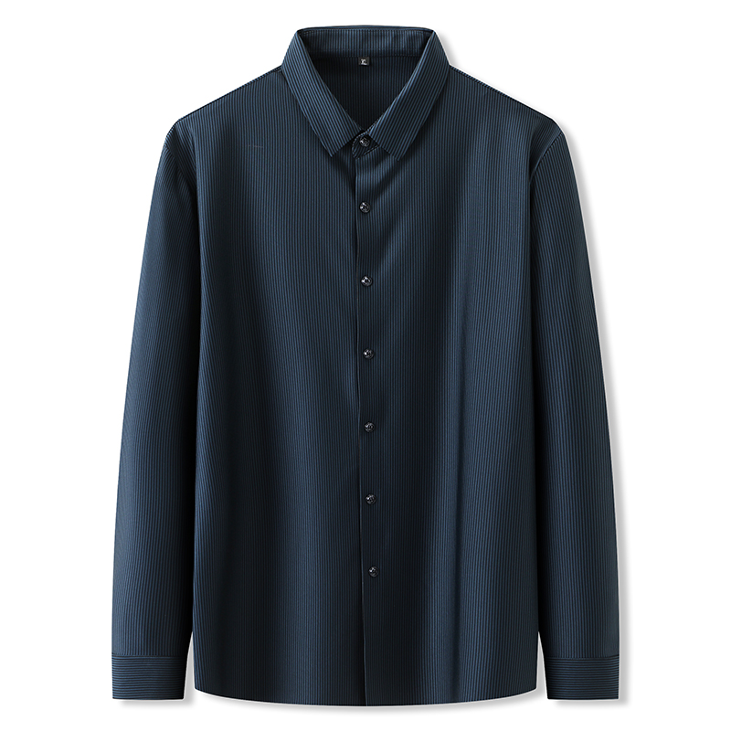 。 Add shirt long sleeve bottoming ice long sleeve fat mens elastic loose l shirt stripe extra large shirt fat