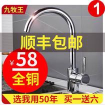 厨房双孔入墙式水龙头冷热水槽洗菜盆碗池阳台洗衣拖把池铜混水阀