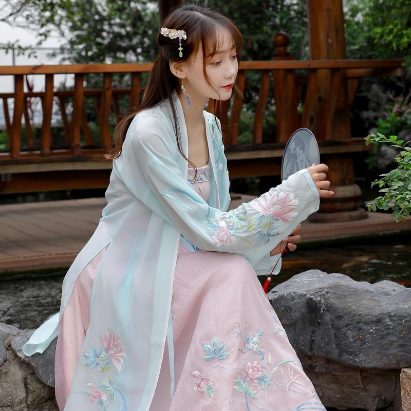 汉服女中国风学生清新仙女樱花超仙夏季仙气飘逸古风齐腰襦裙套装