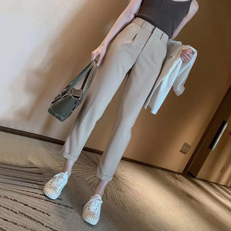 2019春夏韩版高腰休闲裤女九分裤垂感烟管西装裤哈伦萝卜裤潮裤子