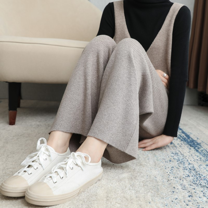 Cashmere knitted wide leg trousers for women in autumn and winter~