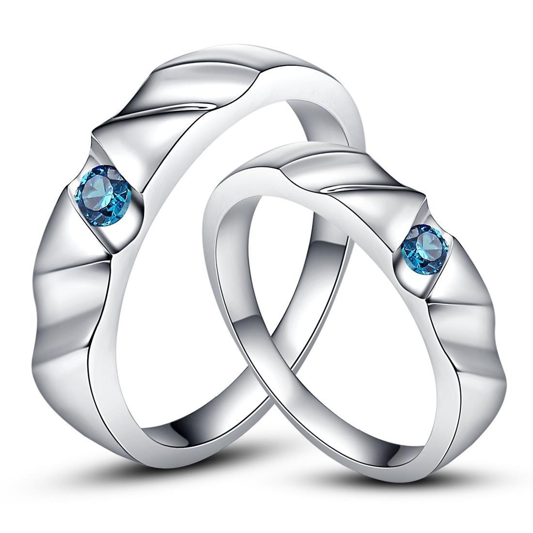 Genuine Aquamarine 925 Silver Plated Platinum Wedding Ring