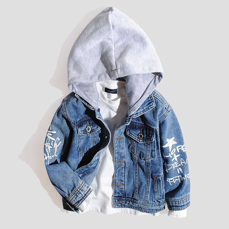 Childrens jeans jacket detachable hooded boys spring and autumn jacket