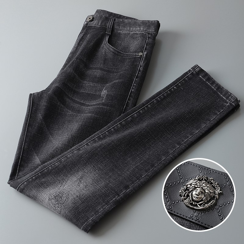 High end boutique jeans mens autumn and winter new casual pants loose straight pants trend printing stretch mens pants~