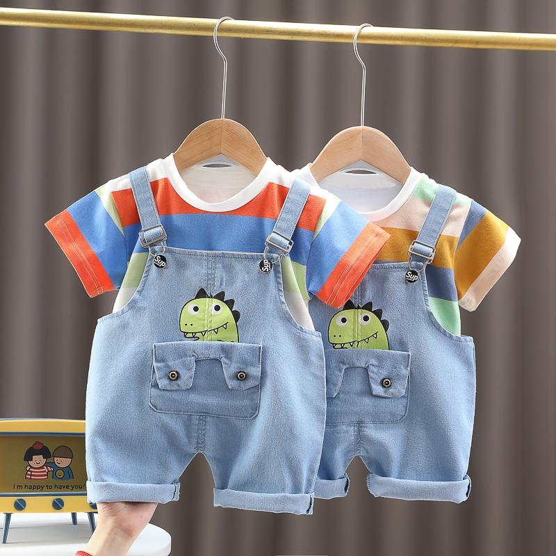 儿童短袖背带裤套装男女童夏装宝宝薄款牛仔条纹两件套卡通小童岁